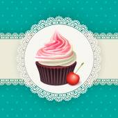 Vintage background with cupcake — Stock Vector