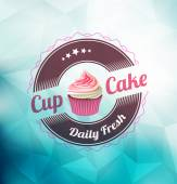 Cupcake with label over polygonal background — Stock Vector