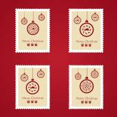 Set of colorful Christmas Postage stamps — Stock Vector