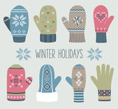 Vintage Christmas mittens, winter set — Stock Vector