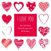 Valentin's Day card, hearts background — Stock Vector