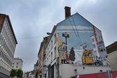 Comic strip mural painting in Brussels, Belgium — Stock Photo