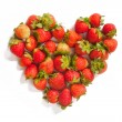 Heart-shaped group of strawberries — Stock Photo #66659835
