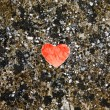 Red paper heart on the colored sand — Stock Photo #66661495