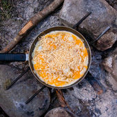 Scrambled eggs cooked — Stock Photo