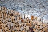 Rough cobblestone parapet — Stock Photo