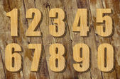 Set of wooden numbers — Stock Photo