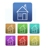 Collection of house icons with set of colors — Stock Photo