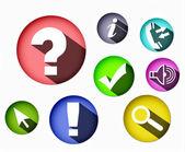 Osm různých barevných ikon kulatý tvar — Stock fotografie