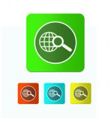 Earth with magnifying glass search icon — Stock Photo
