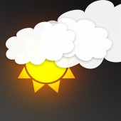Sun with clouds in the dark sky. Weather symbol — Stockfoto