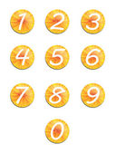 Set yellow buttons with numbers. — Stock Photo