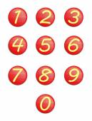 Set red buttons with numbers. — Stock Photo