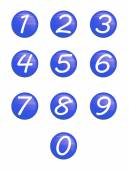 Set blue buttons with numbers — Stock Photo
