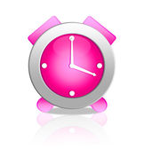 Pink alarm clock isolated on white — Stock Photo