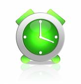 Green alarm clock isolated on white — Stock Photo