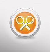 Magnifying Glass Icon on round orange button. — Foto de Stock