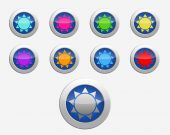 Nine colors signs sun on the buttons — Stock Photo