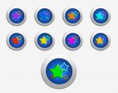 Nine colors stars on the buttons — Stock Photo