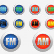 FM radio icon. AM radio icon — Stock Photo #61287953