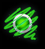 Bright spiral around the button green colour. — Stock Photo