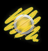Bright spiral around the button yellow colour. — Stock Photo