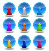 Nine round icons with stredkami up — Stock Photo