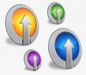 Four round icons with the arrow up — Stock Photo