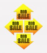 Four arrows with text BIG SALE — Stock Photo
