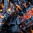 Fire from burning firewood with ashes and flames — Stock Photo #67098199