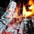 Fire from burning firewood with ashes and flames — Stock Photo #67098279
