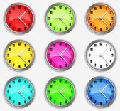 Set clocks with arrows on a white background. — Stock Photo
