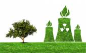 Green grass Nuclear power plant icon — Stockfoto