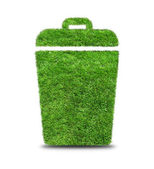 Green grass  trash can isolated on white. — Stock Photo