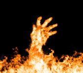 Fire hand — Stock Photo