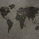 World map on leather background — Stock Photo #77414222