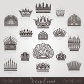 Vintage silhouette crown labels set — Stockvektor
