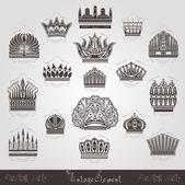 Vintage silhouette crown labels set — Stok Vektör