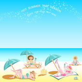 Summer time background on the beach — Stock Vector