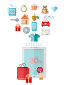 Flat design marketing illustration with set of icons for E-shoping put in table — Stock Vector