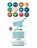 Flat design marketing illustration with computer join with shopping cart and set of icons for E-shoping — Stock Vector
