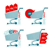 Collection of  isolated shopping carts with discounts -25 -50 -75 on white background — 图库矢量图片