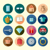 Collection of flat design icons on the circle background with long shadow — Stock Vector
