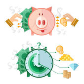 Set of flat design concept icons with piggy bank and clock money — Stock Vector