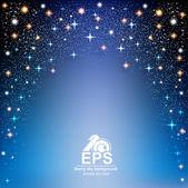 Dunklen blauen Raum mit Sternenhimmel Hintergrund — Stockvektor