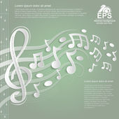 Light green music background with white treble clef and other notes on stave from paper — Stock Vector