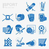 Set of flat design sport icon with isolated blue silhouette sport inventory and sports equipment — Stock Vector