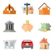 Set of flat icon design and buiding house ern and multiply money and result — Stock Vector