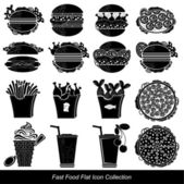 Set of black fast food icon food and drink — Stock Vector