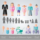 Set of flat design different age isolated people from infant to retiree — Stock Vector